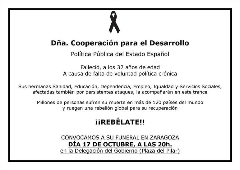 Funeral por la política pública de cooperación para el desarrollo