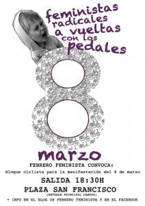 Cartel del bloque ciclista de Febrero Feminista para la manifestación del 8 de marzo