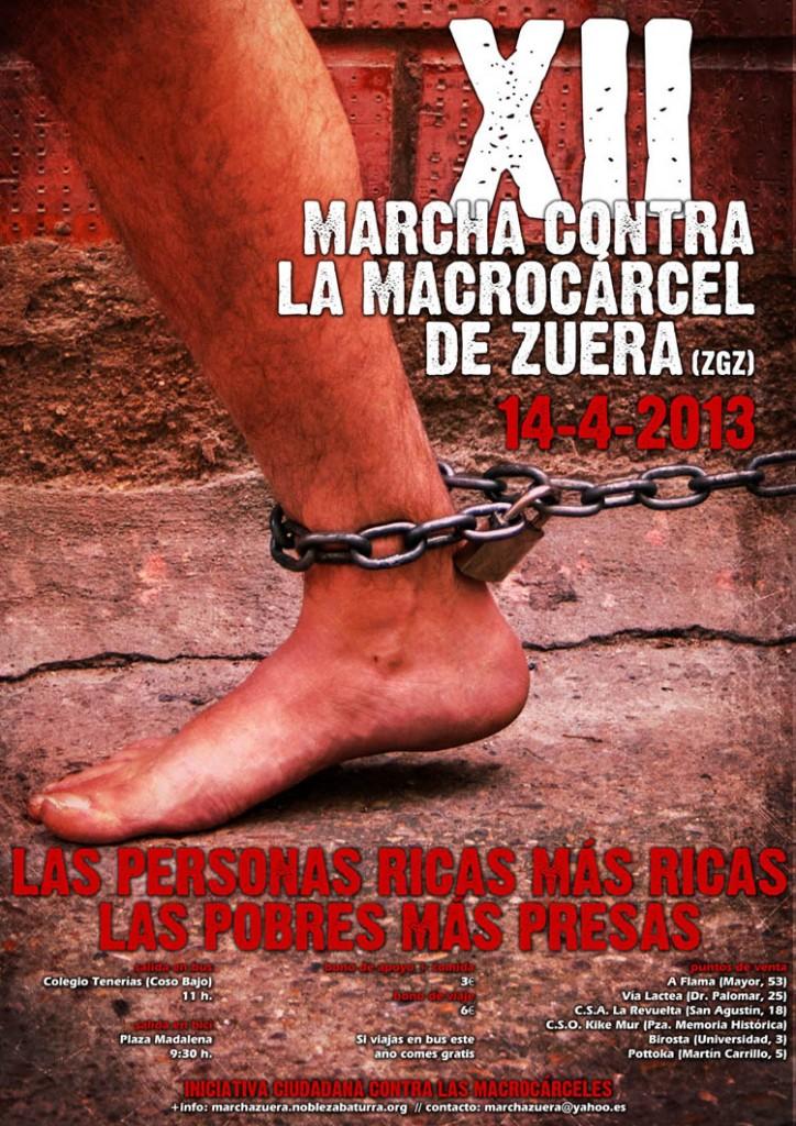 El 14 de abril se celebrará la XII Marcha contra la Macrocárcel de Zuera