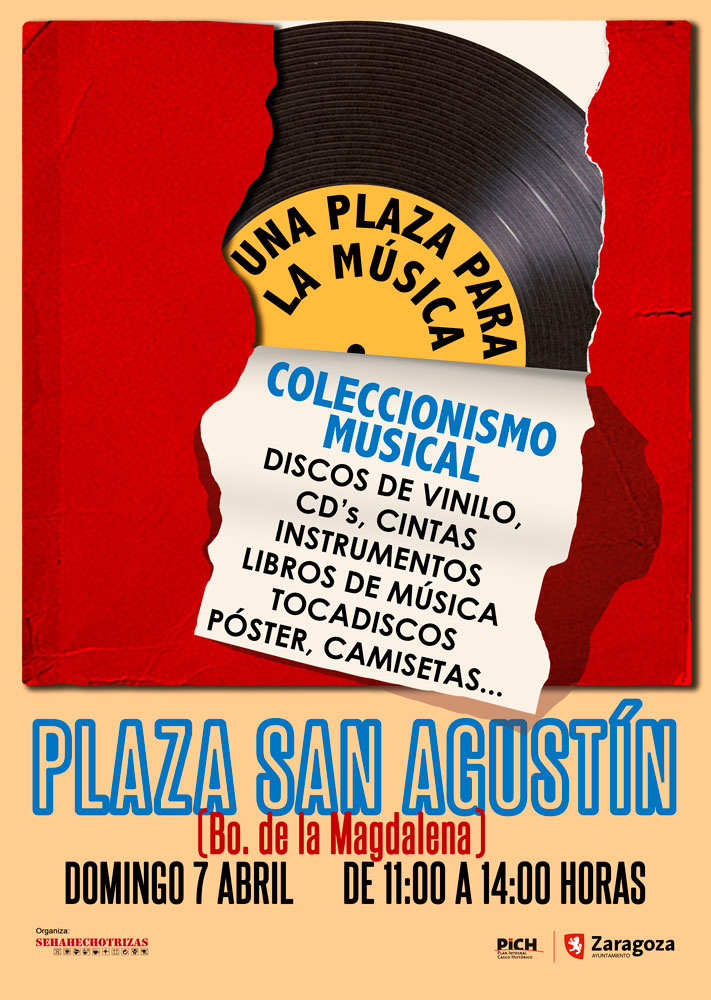 El barrio zaragozano de la Madalena acoge 'Una plaza para la música', el primer Mercadillo del coleccionismo musical