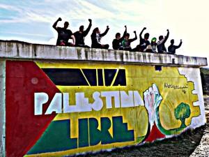 Mural realizado en Artieda. Foto: Foro Palestina Libre de Zaragoza