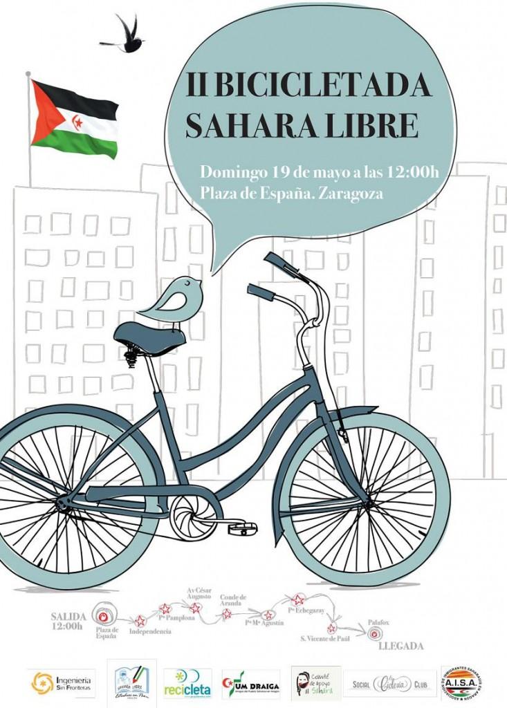 IU llama a la participación en la II Bicicletada en Zaragoza por un Sáhara Libre
