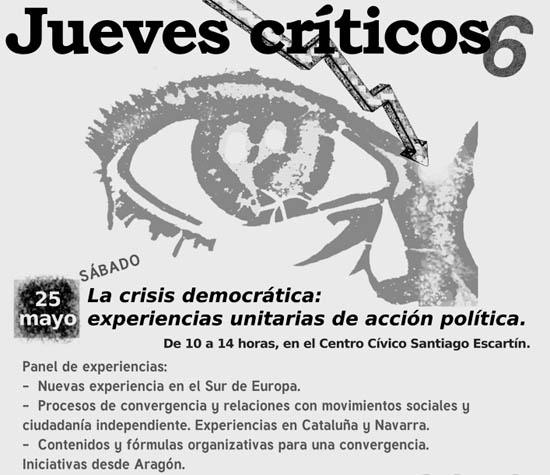'La crisis democrática: Experiencias unitarias de acción política', este sábado en Uesca