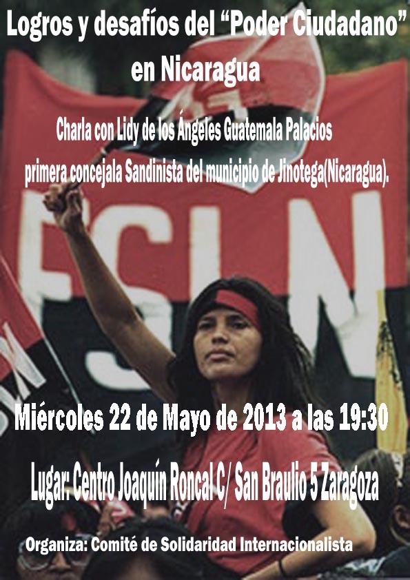 """Charla del Comité de Solidaridad Internacionalista de Zaragoza, """"Logros y desafíos del Poder Ciudadano en Nicaragua"""""""