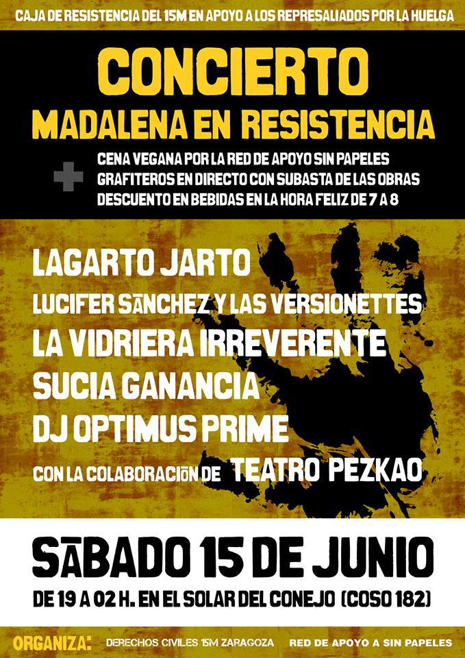 El concierto 'Madalena en Resistencia' recaudará fondos para sufragar gastos judiciales y de multas