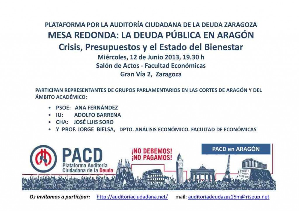 """La PACD Aragón organiza la Mesa Redonda """"La Deuda Pública en Aragón: Crisis, presupuestos y el Estado del Bienestar"""""""