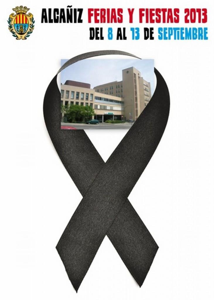 Un lazo negro por un hospital público, el cartel de las fiestas de Alcañiz que quiere censurar el PP