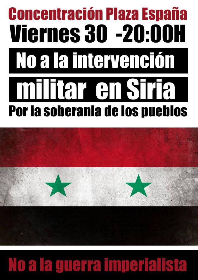 Concentración en Zaragoza contra la intervención militar en Siria y por la soberanía de los pueblos