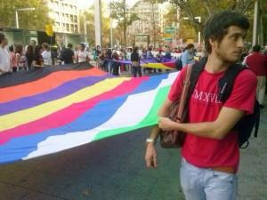 Zaragoza.- Un gran tela de colores representando a las mareas. Foto: Andrea
