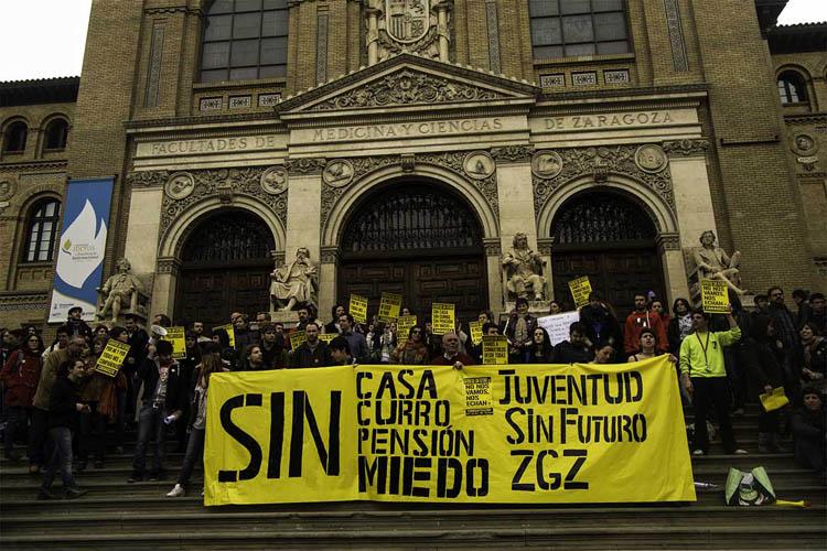 Juventud sin Futuro Zaragoza, primeros pasos en la lucha contra el paro, la precariedad laboral y el exilio