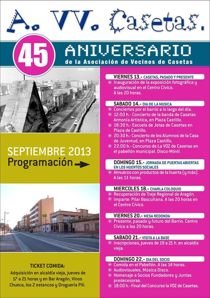La AV de Casetas celebra su 45 Aniversario con un amplio programa de actividades