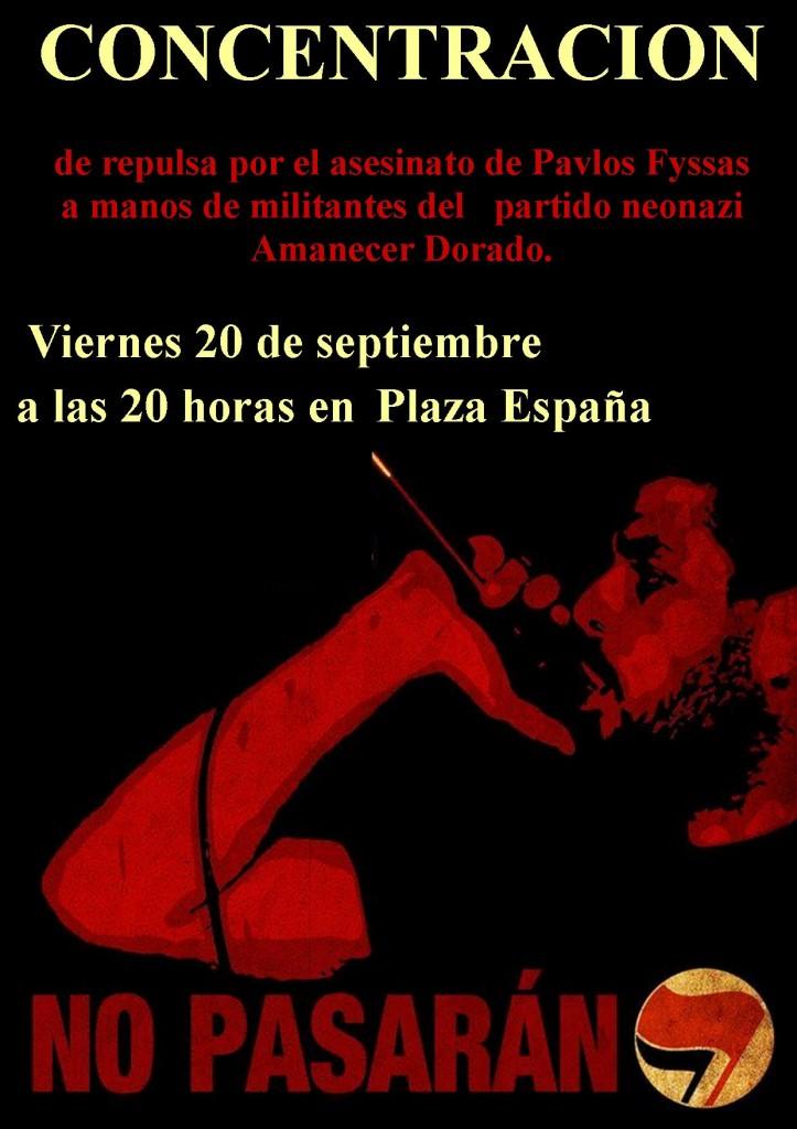 Convocan una concentración en Zaragoza en protesta por el asesinato de Pavlos Fyssas