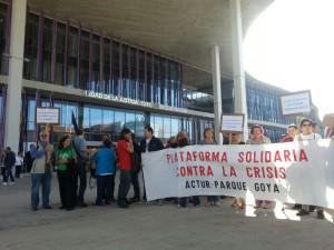 Concentración solidaria con Asun Gulina el pasado jueves en los nuevos juzgados del Actur