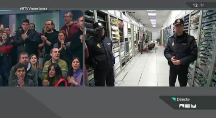 La policía corta la emisión de la cadena pública valenciana