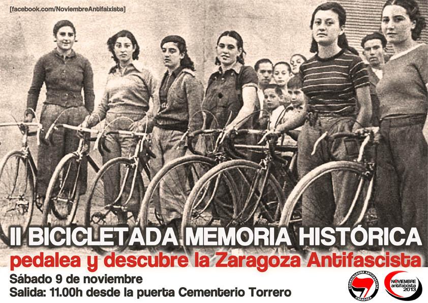 La segunda bicicletada por la memoria histórica recorrerá la Zaragoza antifascista