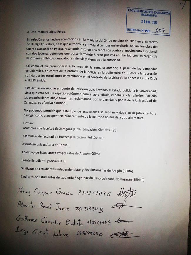 El movimiento estudiantil aragonés entrega una carta solicitando la dimisión del Rector de la Universidad de Zaragoza
