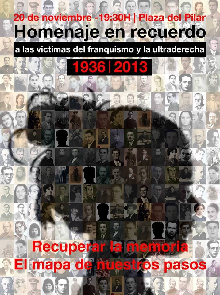 La plaza del Pilar acoge un acto en homenaje a las víctimas del franquismo y la ultraderecha