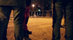 Concentración solidaria en la comisaría de Moratalaz. Imagen: Diagonal / Diso Press