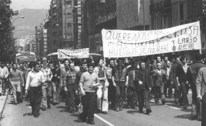 Huelga de la construcción en Asturies, 1977. Foto: Asturies Llibertaria