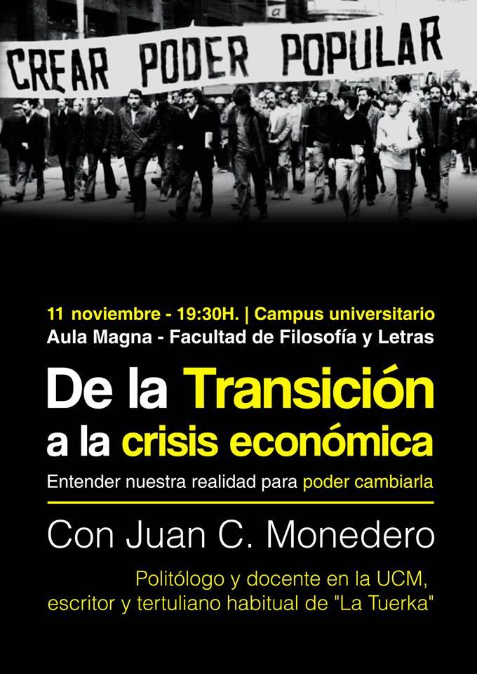 """""""De la Transición a la crisis económica"""", conferencia de Juan Carlos Monedero en Noviembre Antifaixista"""