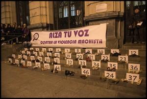Imagen de una concentración en Zaragoza contra la violencia machista. Foto: Primo Romero