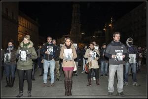 Imagen del acto en Zaragoza del pasado año en homenaje a las víctimas del franquismo y la ultraderecha. Foto: Primo Romero