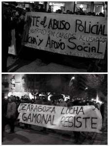 (Arriba) Gamonal pide la absolución de las personas detenidas. 2. Pancarta solidaria de las y los vecinos de Gamonal con Zaragoza. Fotos: Tiempos Modernos