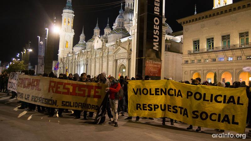 El movimiento ciudadano convoca en Zaragoza una manifestación unitaria frente a la represión policial