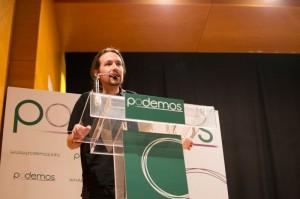 Pablo Iglesias durante un acto de Podemos en Zaragoza. Foto: AraInfo