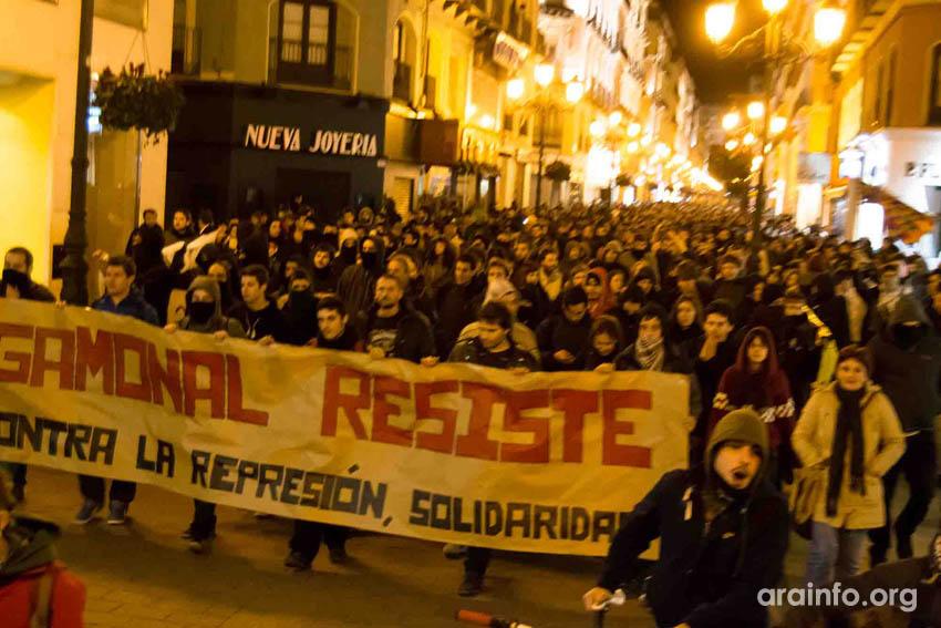 """Purna condena """"la violencia policial en Zaragoza"""" tras la """"manifestación solidaria con Gamonal"""""""