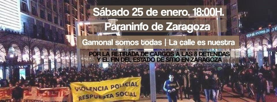 Marea Ciudadana se suma a la manifestación unitaria contra la represión policial de este sábado en Zaragoza