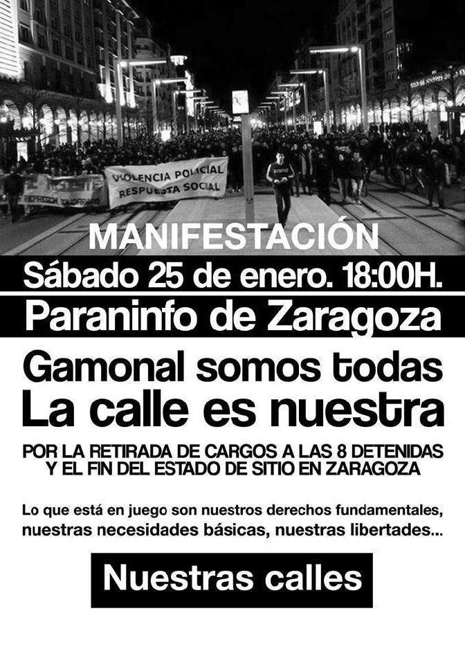 """Zaragoza vuelve hoy a la calle bajo el lema """"Gamonal somos todas. La calle es nuestra"""""""