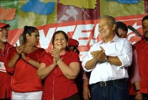 Celebración del FMLN tras conocer los resultados. Foto: Diego Díaz