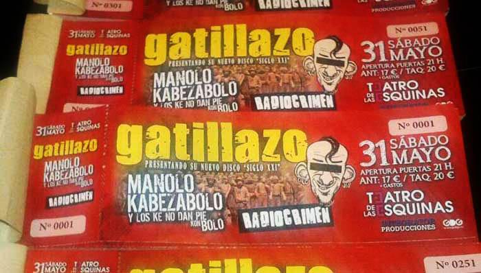 Ya a la venta las entradas anticipadas para el concierto de Manolo Kabezabolo, Gatillazo y Radiocrimen