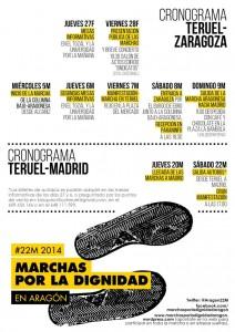 Calendario de actos de las Marchas de la Dignidad en Teruel/Zaragoza.