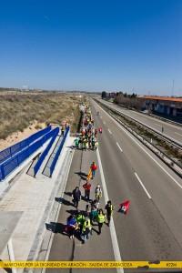 Desde la salida unificada de Zaragoza, los y las marchistas han recorrido en cinco días algo más de 165 kilómetros. Foto: Marchas por la Dignidad en Aragón