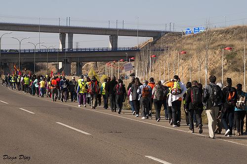 750 personas arropan la Marcha por la Dignidad de Aragón en su primer tramo unido hacia Madrid