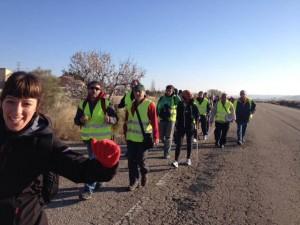 Imagen tomada esta mañana en la segunda etapa de las marchas aragonesas unificadas. Foto: Marchas por la Dignidad en Aragón