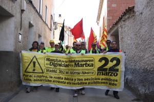 Imagen de la columna navarra en la marcha aragonesa. Foto: Marchas por la Dignidad de Aragón