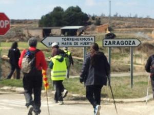 """La etapa de hoy ha pasado por Ateca donde ha sido recibida por las gentes de """"Ateca es chocolate"""". Foto: Marchas por la Dignidad en Aragón"""
