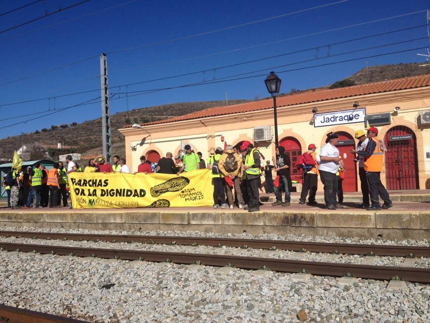 """La columna Nordeste llega a Yunquera de Henares con un lema: """"Nada ni nadie nos puede parar"""""""