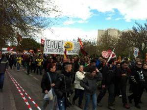 Bloque Crítico de Teruel presente en la movilización del 22M en Madrid. Foto: Bloque Crítico Teruel