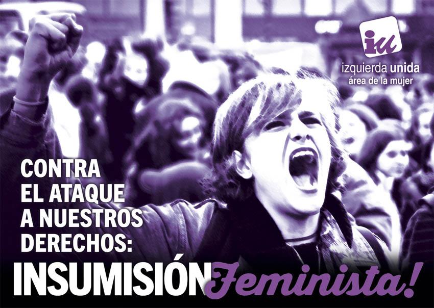 """IU Aragón llama a la """"insurrección e insumisión feminista"""" contra el ataque a los derechos de las mujeres"""