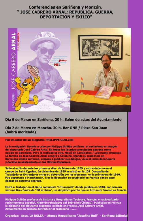 Sariñena y Monzón descubrirán la vida del deportado José Cabrero Arnal de la mano de Philippe Guillén