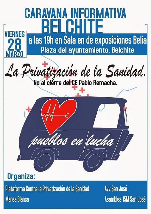 Una caravana informativa llevará a Belchite la lucha contra el cierre del Centro de Especialidades Pablo Remacha