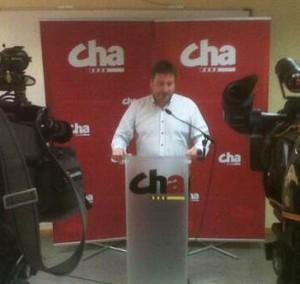 Pepe Soro, presidente de CHA, en el momento de hacer pública la decisión.