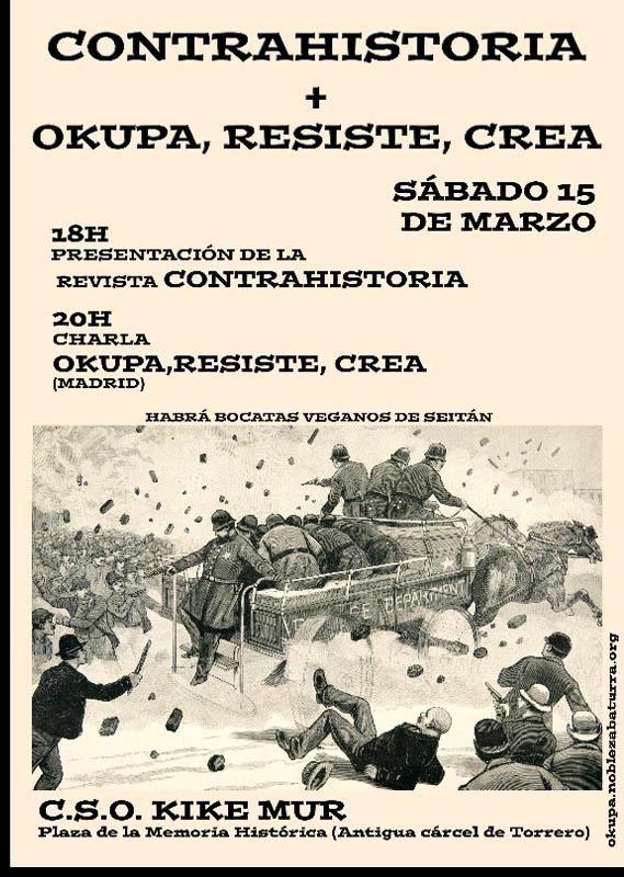 """""""Contrahistoria"""" y """"okupa, resiste y crea"""" hoy en el CSO Kike Mur"""