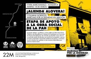 Las y los marchistas visitarán este martes el bloque de viviendas recuperado en Alovera (Guadalajara).