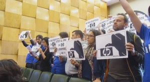 La plantilla de HPO Zaragoza durante su intervención en el Pleno municipal del viernes 25 de abril.