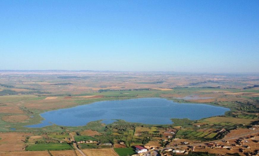 Vista aérea de la Laguna de Sarinyena. Foto: Comarca Os Monegros